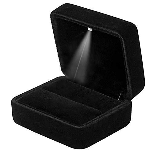 GBYAN Caja de Terciopelo para Anillo con luz LED Caja de Regalo para proposición, Compromiso, Boda (Negro)