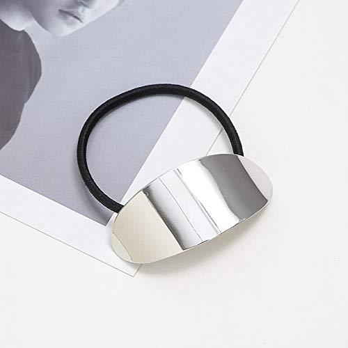 Métal tête géométrique corde mode queue de cheval cheveux anneau étoile triangle corde corde élastique, miroir ovale - argent