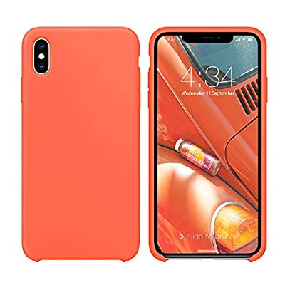 "xperg iPhone Xs Max Case, iPhone Xs Max Case Silicone, Slim Liquid Silicone Gel Rubber Shockproof Case Soft Microfiber Cloth Lining Cushion Compatible with Apple iPhone Xs Max 6.5"" (2018), Neon Coral"