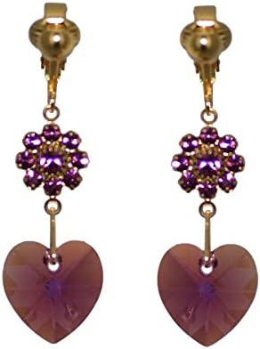 HEARTS & FLOWERS Gold Plated lilac Crystal Clip On Earrings