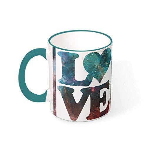 Lind88 - Taza de café con Forma de corazón y Capuchino con asa, Tazas Personalizadas de cerámica, Regalo de San Valentín para Mujeres, Apto para Uso en dormitorios, cerámica, Verde Azulado, 330ml