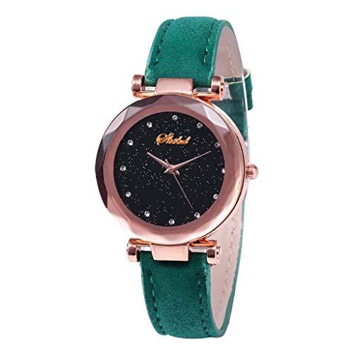 jieGorge✔ Mädchen Damen Armbanduhr Fashion Inlay Diamant Quarz Leder Gürtel Schwarz Sternenhimmel Zifferblatt Damen Watch Shop Now (grün)