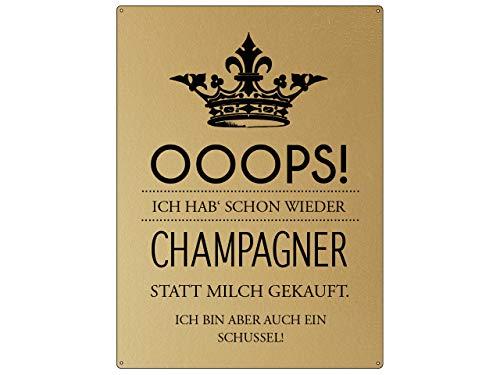 Interluxe schild30x22 cm gouden look wandbord Ooops! ICH HAB' al weer champagne meiden gouden look wanddecoratie
