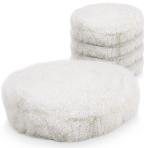 BITUXX® 180mm Wollhaube Polierpad Wollpad Polierfell Wollpuffer Polierhauben Lammfell für Autopoliermaschinen (5X)