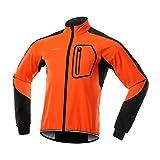 Bergrisar - Giacca invernale da uomo in Softshell adatta per ciclismo, antivento, resistente all'acqua, termica, pile, bicicletta, capospalla BG011 - arancione - X-Large