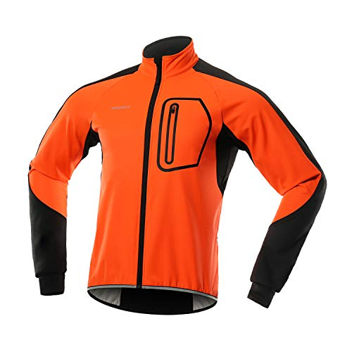 BERGRISAR Herren-Softshell-Fahrradjacke, Windbreaker, wasserdicht, Thermo-Fleece, Fahrrad-Oberbekleidung, BG011 - Orange - Large