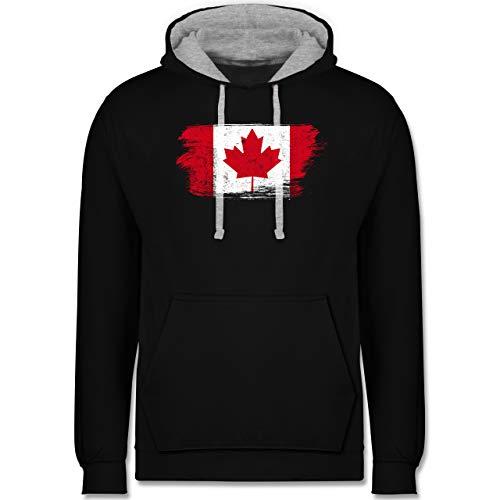 Shirtracer Länder - Kanada Vintage - S - Schwarz/Grau meliert - Pullover Kanada Herren - JH003 - Hoodie zweifarbig und Kapuzenpullover für Herren und Damen