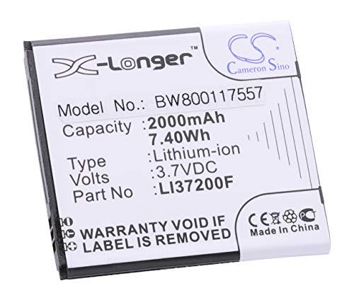 vhbw Li-Ion Akku 2000mAh (3.7V) passend für Handy Smartphone Telefon Medion Life X4701, MD98272