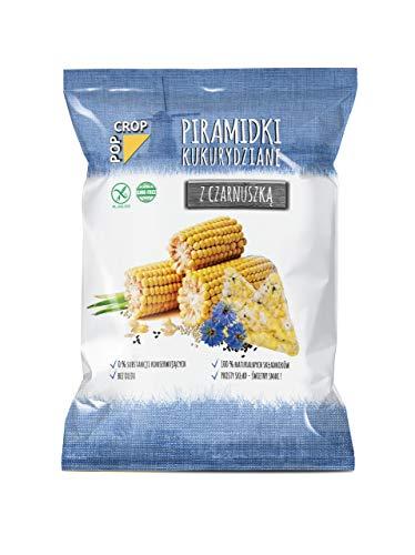 Piramidki z czarnuszką, 10 x 80g, powoli wypiekane chipsy z kukurydzy, ryżu, jaglanki, quinoa i czarnuszki   Bezglutenowe, Wegańskie   Bez dodatku cukru, oleju i żadnej chemii