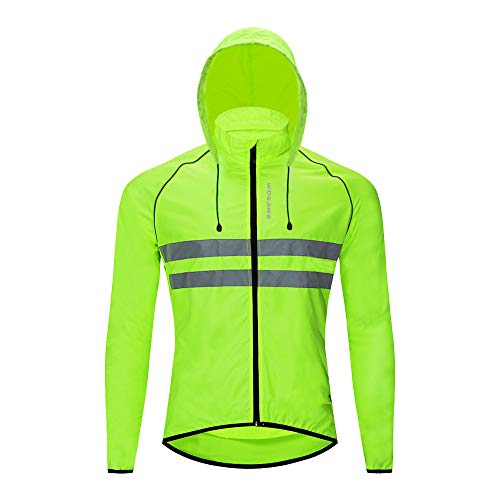 WOSAWE Lightweight Cycling Jacket, High Vis Motorcycle Jersey with Detactable Hat Breathable Wind Coat for Climbing, Hiking, Riding, Running (Green L)