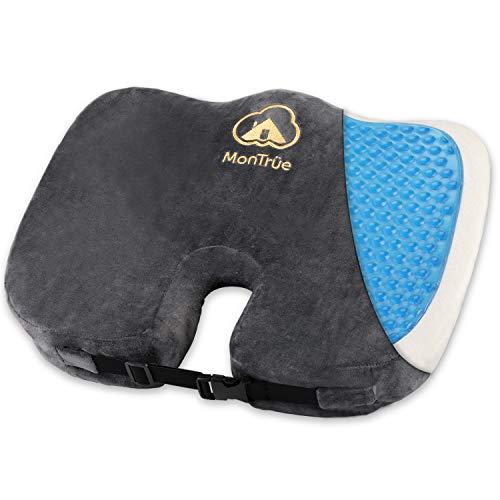MonTrüe Orthopedisch zitkussen met innovatieve gel-coating en anti-slip bekleding ter ontlasting van tussenwervelschijven en tegen rugpijn, ergonomisch zitkussen voor bureaustoel, grijs