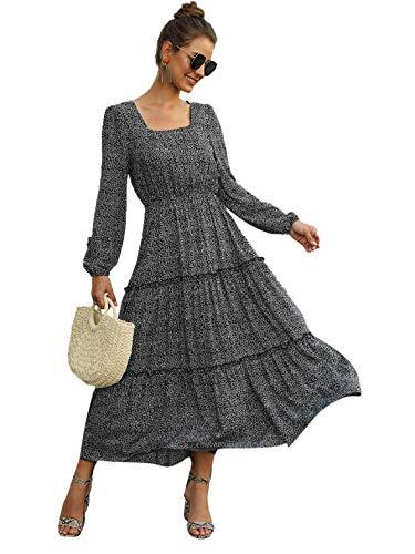 SweatyRocks Women's Long Sleeve Square Neck Floral Print Flared Flowy Chiffon Swing Maxi Dress Multicolor L