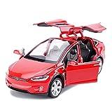 Coche modelo de coche una y treinta y dos Tesla Model X Todoterreno SUV simulación joyería de la aleación Juguete Adornos Colección coche de deportes de fundición a presión de 15x5.5x4.5CM (Color: Neg