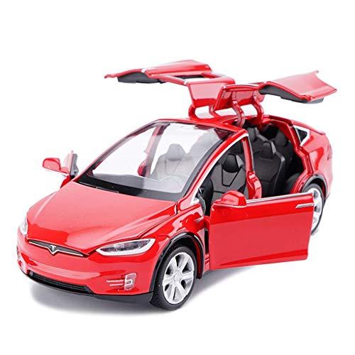 Coche modelo de coche una y treinta y dos Tesla Model X Todoterreno SUV simulación joyería de la aleación Juguete Adornos Colección coche de deportes de fundición a presión de 15x5.5x4.5CM (Co