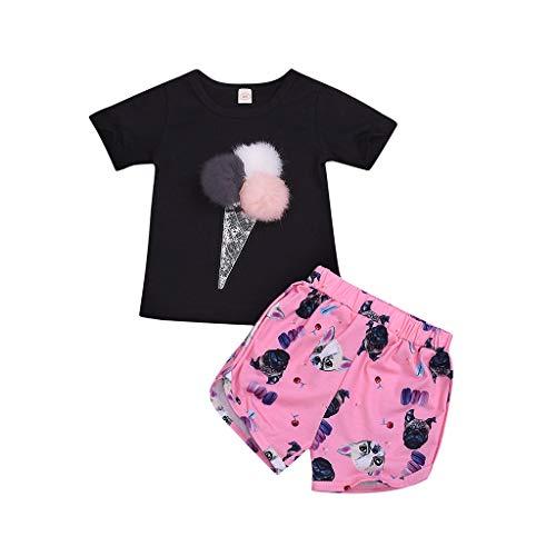 Tyoby Mädchen Eiscreme Kurzarm T-Shirt + Puppy Print Shorts Zweiteiler,Sommer Erfrischend Baby Anzug(Schwarz,120)