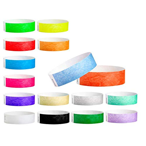 "WristCo Ultimate Variety Pack 3/4"" Tyvek Wristbands - 16 Colors, 320 Ct Neon Green, Red, Blue, Orange, Yellow, Pink, Purple, Gold, Silver, Aqua, White, Black Pantone Green, Berry, Sky Blue, Coral Red"