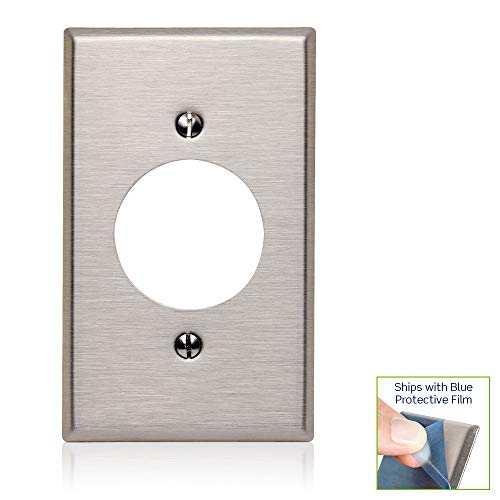 Leviton 84020-40 1-Gang Locking 1.60 Inch Dia. Device Receptacle Wallplate, Standard Size, Device Mount, Stainless Steel