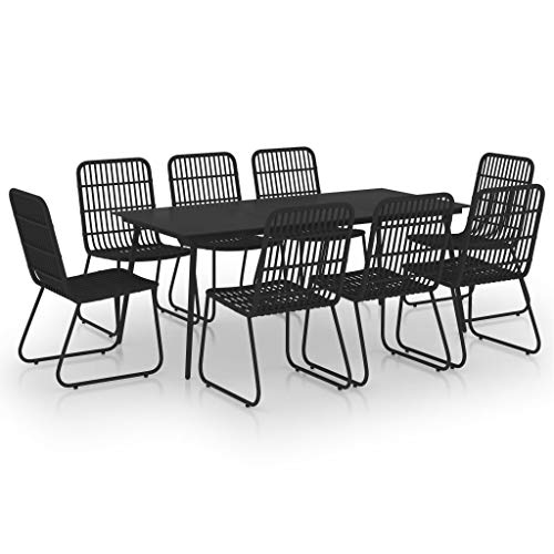 vidaXL - Conjunto de mesa y sillas de comedor para exterior (9 piezas, resina trenzada y cristal)