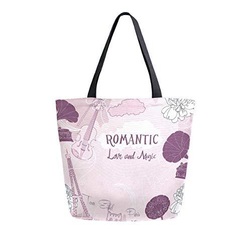 Mnsruu Romantische Blumen-Eiffelturm für Lebensmittel, wiederverwendbar, große Handtasche, Schultertaschen für Einkauf, Lebensmittel, Reisen, Outdoor