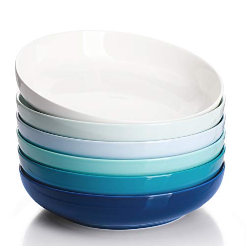 Sweese 124.003 Porcelain Salad Pasta Bowls - 30 Ounce - Set of 6, Cool Assorted Colors
