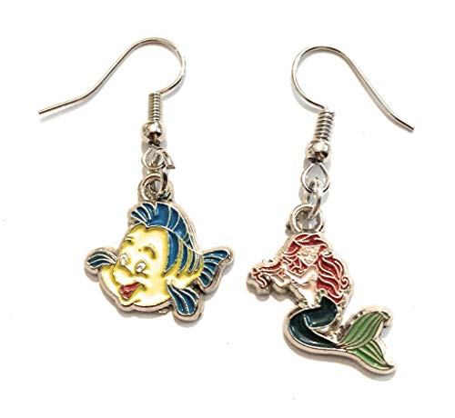 Giulyscreations Oorbellen van metaal, Nichel, Free La Sirenetta The Little Mermaid Pendant Ariel Flounder Cartoni Animate Disney Anime Pop Fantasy Cosplay