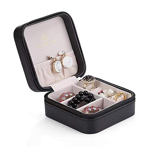 Vlando Small Faux Leather Travel Jewelry Box Organizer Display Storage Case for Rings Earrings Necklace, Black
