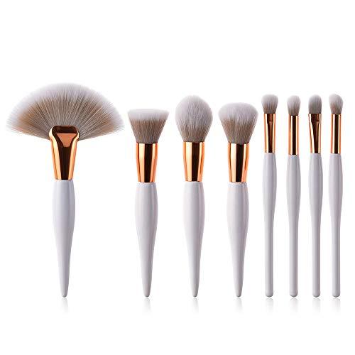 Simsly Eye Make Up Brushes Set 4 Pcs ou 8 Pcs Poignée Pinceau Cosmétique Pinceau Ombre à Paupières Pinceau Synthétique Professionnel Soie Vegan Foundation Blush (Couleur Blanche) (Blanc-8pcs)