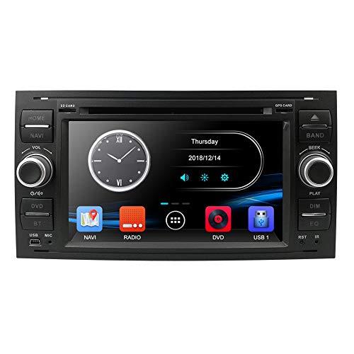 Autoradio Moniceiver Riproduttore DVD Navigatore GPS Bluetooth per Ford C-Max  Connect  Fiesta  Focus  Fusion  Galaxy  Kuga S-Max  Transit  Mondeo, 7 pollici, 2 Din, colore: nero