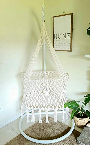 H&C Lëlë Indoor and Outdoor Handmade Macrame Baby Swing Hammock Crib + Nest 100% Organic Cotton