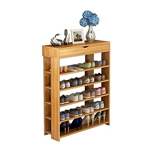 Soges 5-Tier Shoe Rack 295 inches Wooden Shoe Storage Shelf Shoe Organizer Teak L24-XTK