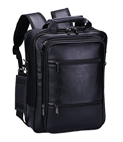 VIDENG POLO Zaino in Pelle Borse da viaggio Crossbody Borsa a tracolla Messenger Per 13 15 17 pollici notebook MacBook (Nero-s6)