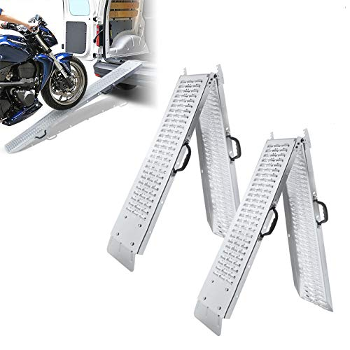 HENGMEI 2X Auffahrrampe 400kg Faltbar Laderampe Verladerampe Auffahrschiene Motorradrampe Anhängerrampe Faltbare Rampe (Faltbar)
