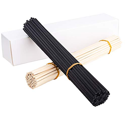 EXQUISS 120 Pcs Reed Diffuser Replacement Sticks Set of 60 Pcs Wood Rattan Reed Sticks(Natural Color) + 60 Pcs Fiber Reed Diffuser Replacement Refill Sticks(Black Color)-10