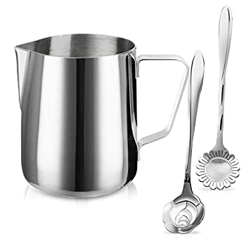 Milk Frothing Pitcher Jug - 12oz/350ML Stainless Steel Coffee Tools Cup - Suitable for Espresso Latte Art and Frothing Milk Attached Dessert Coffee Spoons