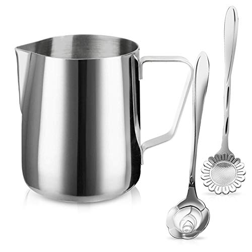 Milk Frothing Pitcher Jug - 12oz/350ML Stainless Steel Coffee Tools Cup - Suitable for Espresso, Latte Art and Frothing Milk, Attached Dessert Coffee Spoons