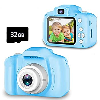 Seckton Upgrade Kids Selfie Camera Christmas Birthday Gifts for Boys Age 3-9 HD Digital Video Cameras for Toddler Portable Toy for 3 4 5 6 7 8 Year Old Boy with 32GB SD Card-Blue