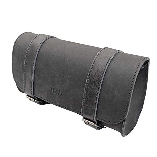 Hide & Drink, Thick Leather Motorcycle Handlebar Bag, 2 Straps, Tool Organizer, Motorbike Storage Pouch, Premium Saddle Bag for Bike Commuters, Handmade Includes 101 Year Warranty :: Charcoal Black