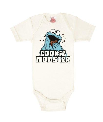 Logoshirt Body para bebé Monstruo de Las Galletas - Barrio Sésamo - Sesame Street - Cookie Monster - Pelele para bebé - Blanco Antiguo - Diseño Original con Licencia, Talla 50/56, 0-2 Meses