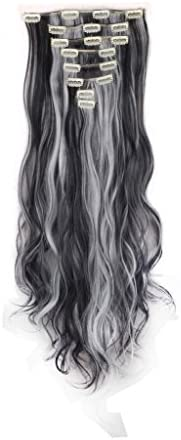 FIRSTLIKE 24 Curly Natural Black Mix Silver Grey Clip In Hair Extensions Thick Full Long 8 Pieces product image