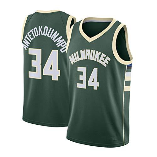 Fei Fei Milwaukee Bucks Giannis Antetokounmpo #34 Unisex Camiseta De Baloncesto De Los Hombres Transpirable All-Star Jersey(Tamaño: S-XXL),Verde,S