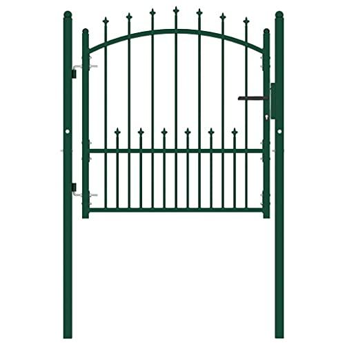 Puerta de jardín, puerta abatible de metal Puerta de valla exterior Entrada...