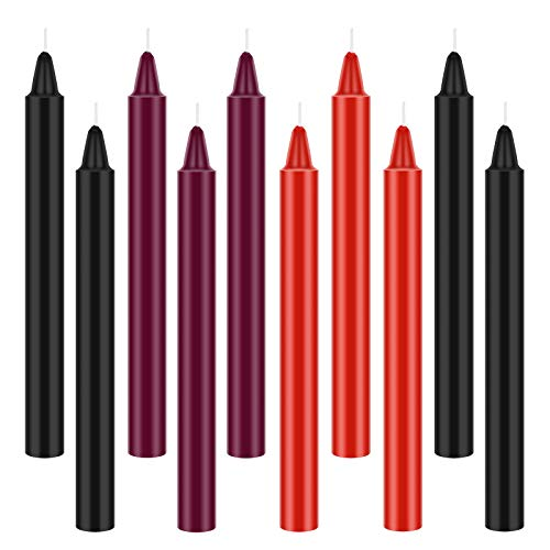 10 Pieces Low Temperature Candles Romantic Candles Wax Low Heat Dripping Candles Valentine Candles for Couples Lovers (Red, Black, Purple)