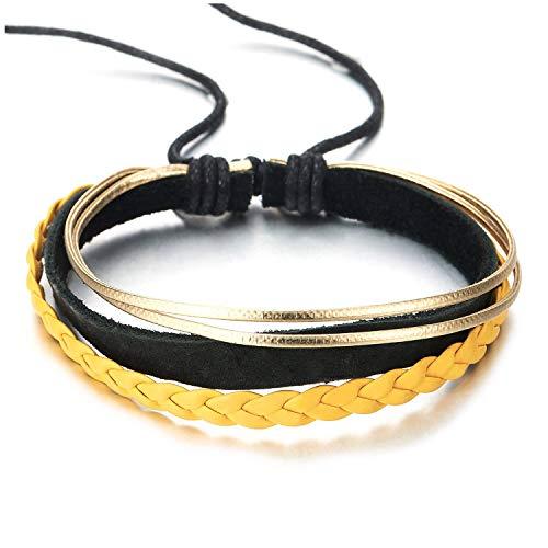 COOLSTEELANDBEYOND Multihilo Negro Amarillo Cuero Trenzado Oro Algodón Cuerda Pulsera, Pulsera de Hombre Mujer, Pulsera del Abrigo