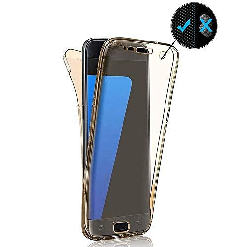 Miagon für Samsung Galaxy A41 Handyhülle 360 Grad Gold Transparent Silikon Etui Full Cover Vorne Hinten Rundum Doppel-Schutz Hülle Case Cover