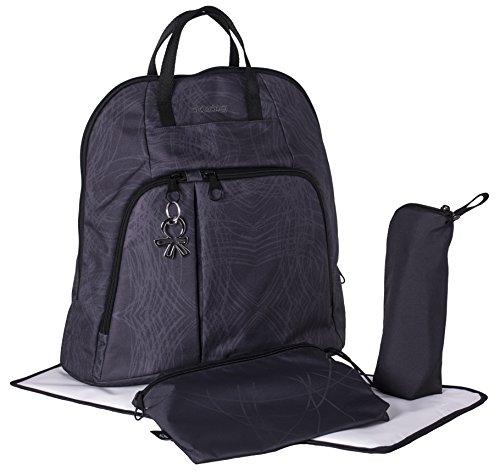 okiedog TREK 39014 eleganter Wickelrucksack, gepolsterter Rücken, weiche Tragegurte, Kinderwagenhaken, Wickelunterlage, isol. Flaschenhalter, Zubehörbeutel, Scribbles schwarz, ca. 37 x 39 x 15 cm