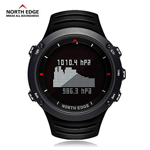 ETbotu Intelligent sporthorloge, waterdicht, nachtverlichting, barometer, kompas, thermometer, weerstation, zwart