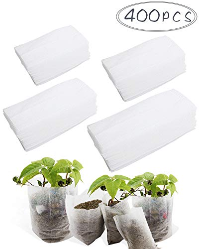 BcPowr 400 PCS 4 Size Biodegradable Non-woven Nursery Bags Plant Grow Bags Fabric Seedling Pots Plants Pouch Home Garden Supply