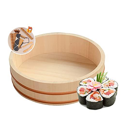 TYRHMY Ciotola di Riso di Legno di Sushi, Strumenti di Sushi Gratis Sushi Che Fa Il Kit di Rame Cerchio Solido Bianco Barile di Legno Solido,66 * 16cm