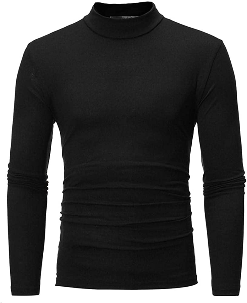 Men's Long Sleeve Tee Shirts Pure Color Turtleneck T-Shirt Top Blouse Autumn Winter to wear with Jacket & Sweater