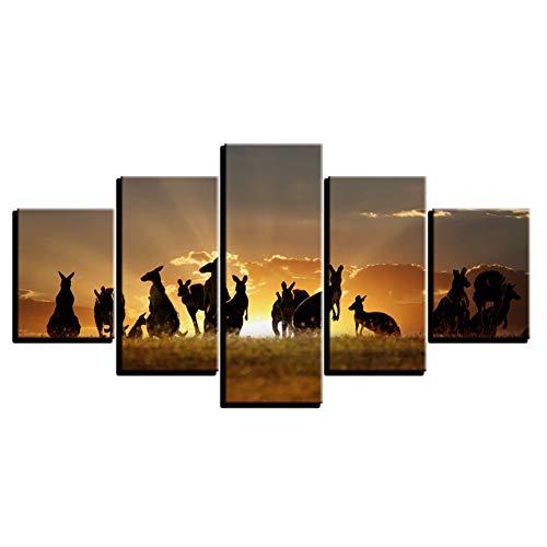 WHFDH Moderne wooncultuur schilderij wandschilderij op doek 5 stuks gouden sunset kangoeroeafbeelding woonkamer Hd Print Poster 20x35 20x45 20x55cm Frame